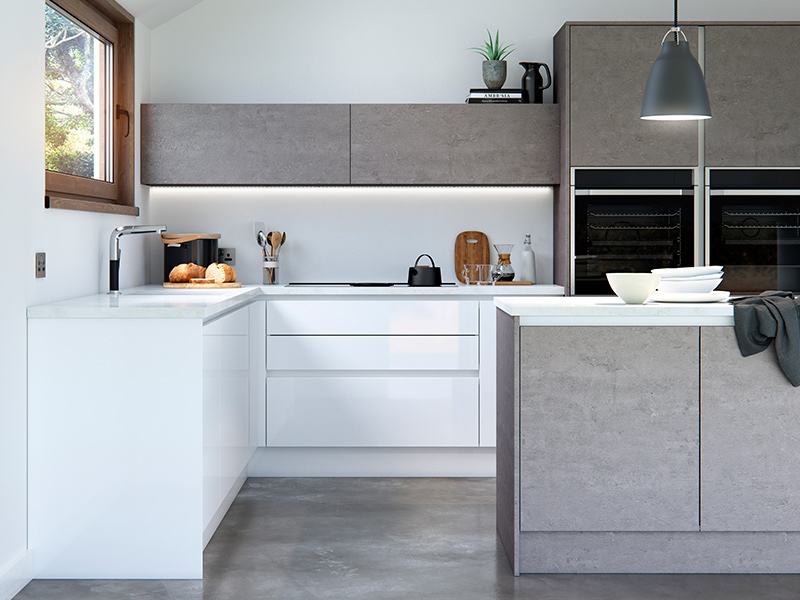 Lloyds Cosdon Gloss White and Concrete Contemporary Kitchens