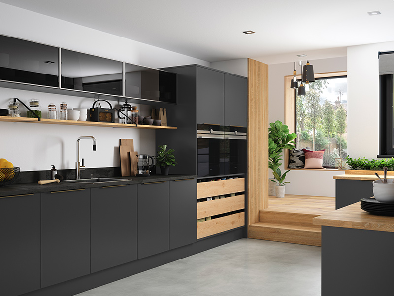 Lloyds Cosdon Matt Graphite with Silver Frames Contemporary Kitchens