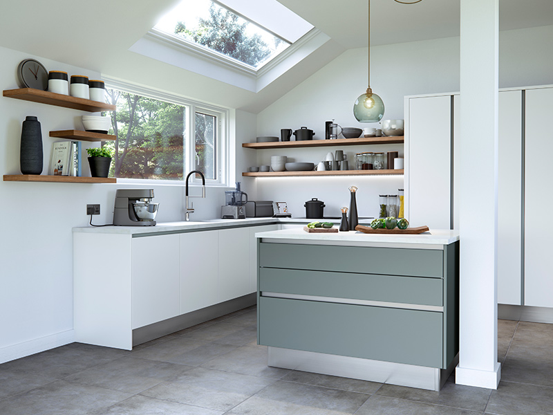 Lloyds Cosdon Matt White Winter Teal Contemporary Kitchens