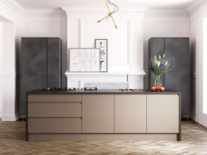 Lloyds Welford-Pink-Champagne-and-Aconbury-Black-Steel Contemporary Kitchens