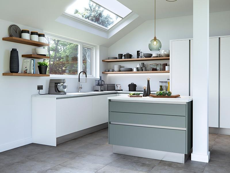 Lloyds Cosdon Matt White and Teal Kitchen